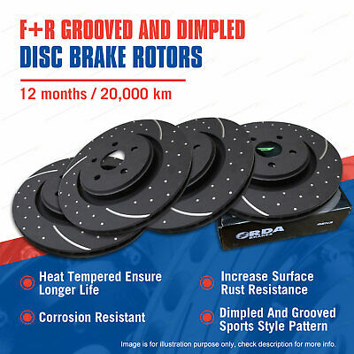 Front + Rear Slotted Disc Brake Rotors for Volvo XC90 D5 1/11-on Premium Quality