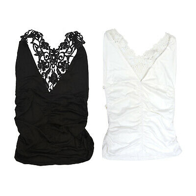 Sexy Women Tank Top Lace Open Back Night Club Camisole Vest Top White XL N6K5