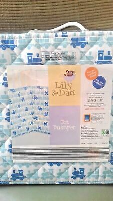 Breathable Baby Lily & Dan Blue And White Cot Bumper In Packaging 152 x 35 cm