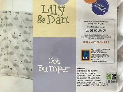 Breathable Baby Lily & Dan Grey And White Cot Bumper In Packaging 152 x 35 cm