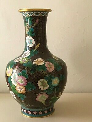 Vintage Large Cloisonne Vase in  Brown with multi colours 39cm high.