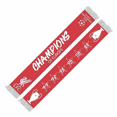 Liverpool FC Red UCL 6 Time Champions Scarf  LFC Official