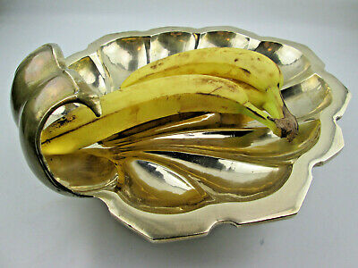Heavy Large 14 by 13 Solid Brass Scallop Clam Shell Bowl Ball Feet Over 6 Pounds