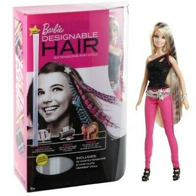 Barbie Fashion Designable Hair Extensions with Doll New