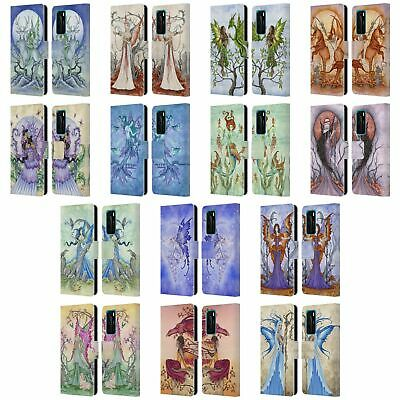 Official Amy Brown Elemental Fairies Leather Book Wallet Case For Huawei Phones
