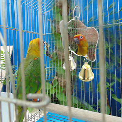 Parrot Chew Bite Bell Mirror Cage Hanging Toy Swing Pet Bird Parakeet Play ToyCN