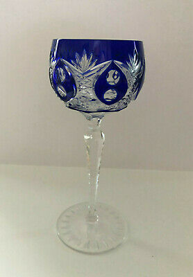VINTAGE BOHEMIAN STYLE CRYSTAL ROEMER (Römer) WINE GLASS FROM GERMANY - BLUE