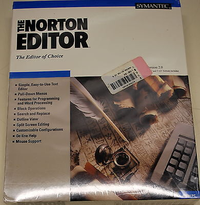 Norton Editor 2.0 Software & Manual New in Sealed Package NIB - ships worldwide