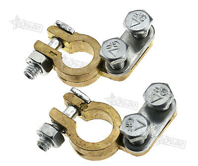 Brass Battery Terminals Connectors Clamps Fits Car Van Carvan Boats Poaitive