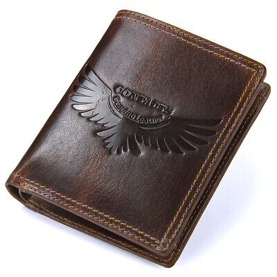 Genuine Leather Men's Wallet ZIPPER Coin Purse Card Holder Vintage Retro Style