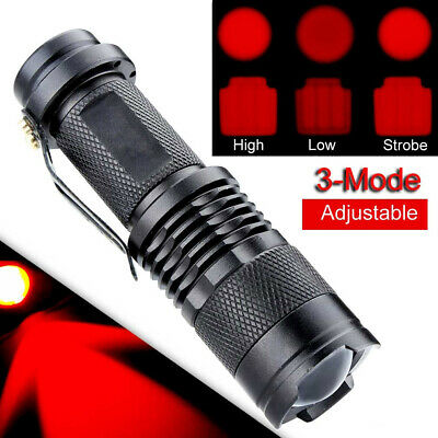 300 Lumen Mini Portable Zoomable Red Light LED Flashlight Touch 3 Modes New