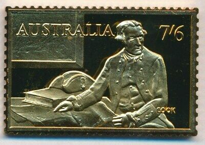 Australia: 1988 24ct Gold on Stg Silver Stamp $99.50 Issue Price - Captain Cook