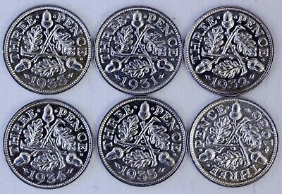 6 UNC KING GEORGE V  SILVER THREEPENCE. (1931 - 1936) 0.500 silver.
