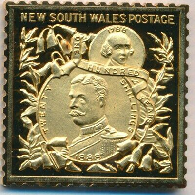 Australia: 1988 24ct Gold on Stg Silver Stamp $99.50 Issue Price - NSW 1888 £1