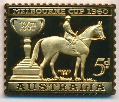 Australia: 1988 24ct Gold on Stg Silver Stamp $99.50 Issue Price - Melbourne Cup