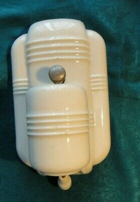 Vintage Art Deco Paulding Bathroom/Kitchen Porcelain Wall Light Fixture w/Pull