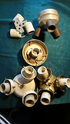 5 Vintage Light Lamp Cluster Socket Part~Steam Punk DIY~Porcelain Socket~Switch