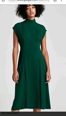 17d9820d Zara Smart Elegant Bottle Green Flowing Midi Dress With Pleat Detail Size S