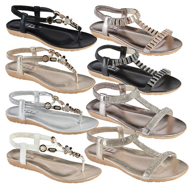New Ladies Toe Post Sandals Decorated Elasticated Summer Holidays Beach