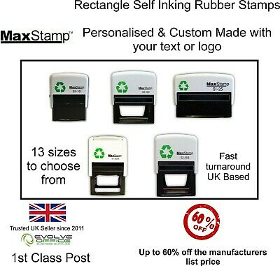 Personalised Rubber Stamp Rectangle Shape - 13 sizes to choose from Self Inking