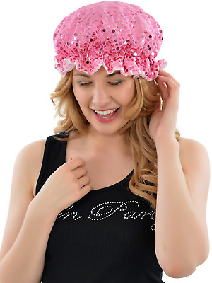 Pink Bling Sequin Shower Cap Luxury Waterproof Hat Hen Party One Size Fits All
