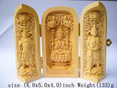 Boxwood Purely Handwork Carved Buddha Prayer Amulet Box Exorcism Statue