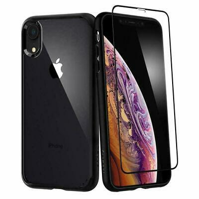 iPhone XR Case, Spigen Ultra Hybrid 360 Tempered Glass Cover Case - Black