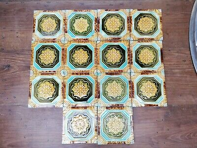 A Set Of 14 Decorative Antique Painted Late Victorian Fire Tiles Ref M1277