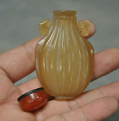 Rare Old Chinese Natural Agate Onyx fine Hand-carved Ruyi snuff bottle statue