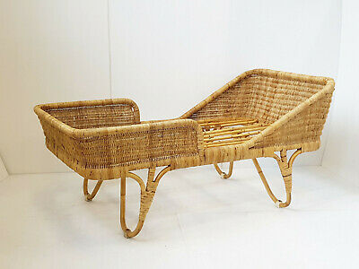Bed Child Teen Vintage in Rattan Bamboo 1950 Rockabilly Louis Sognot 50S