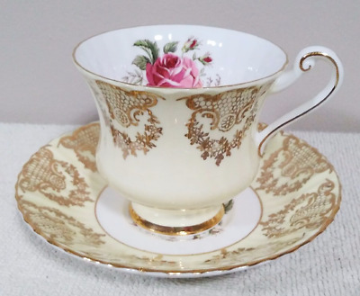 Vintage Paragon Bone China England Pale Yellow & Gold Teacup and Saucer