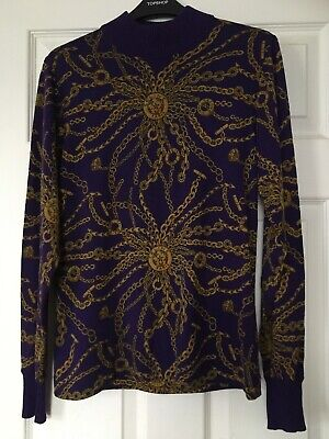 Celine Purple And Gold Long Sleeved Vintage Rare Top With Chain Print