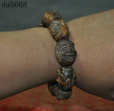 Chinese old ox horn carved 18 Arhat Damo Buddha head amulet Bracelets Hand chain