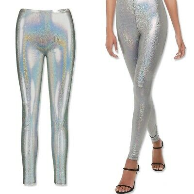 SILVER METALLIC LEGGINGS Shiny Holographic Stretch Pants Retro Fancy Dress Party