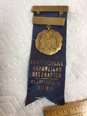 Antique Medal Ribbon National Republican NY Delegation Cleveland 1936 Convention