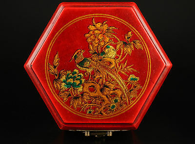 Vintage Collection Old Handmade Unique Wood Red Leather Phoenix Jewelry Box