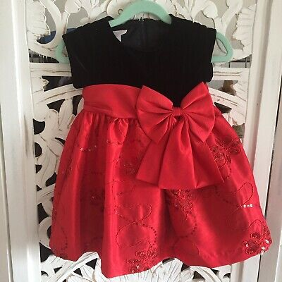 6037341e508 Bonnie Jean Baby Red and Black Holday Party Taffeta Dress Bow Velvet sz  24month