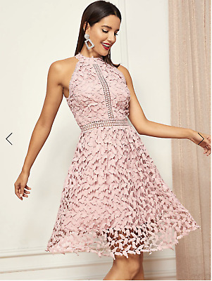 d2899ab648 SHEIN Halter Neck Guipure Lace Flared Dress blush pink size M fits 36