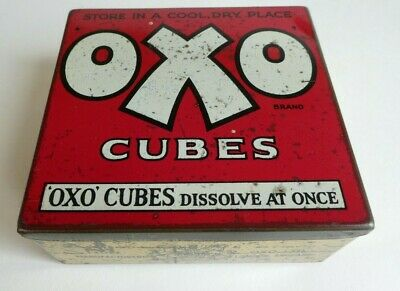"""RARE Vintage early 1900's 50 cube """"OXO CUBES"""" tin BY ROYAL APPOINTMENT"""