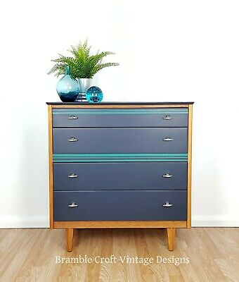 Mid Century Chest of Drawers in Navy Blue and Teal.