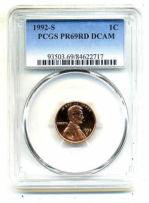 Pcgs Pf69 Rd Deep Cameo 1992 S Lincoln Proof Dcam Gem Bu 1C Cent Penny Coin#3568