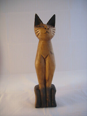 Vintage Retro Carved Siamese Siam Cat Wooden Painted Large Standing