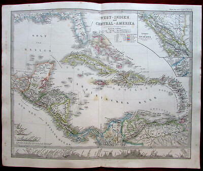 Central America West Indies Caribbean 1862 Berghaus Stieler map British Honduras