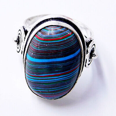 Rainbow Calsilica 925 Sterling Silver Plated Handmade Jewelry Ring UK Size-P 1/2