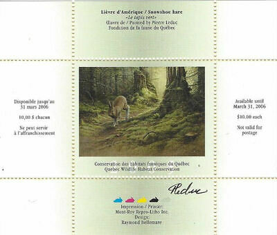 2005 Canada Quebec  Wildlife Habitat Conservation  -DQ46s signed   Mint NH