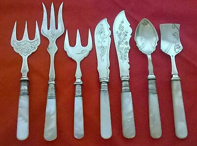 Lot of Antique Silver Plated Cutlery with Mother of Pearl Handle Forks Spoons +