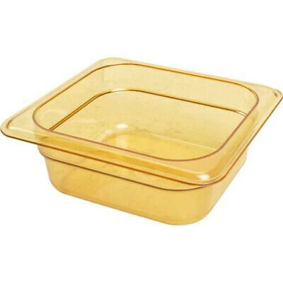 "Cambro 62HP150 H-Pan 2.5"" Deep Amber High Heat Hot Food Pan 1/6 Size (6)"