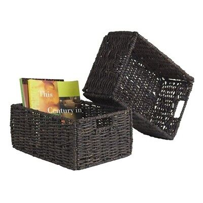 Winsome Granville Set of 2 Medium Foldable Baskets Chocolate 38207 NEW