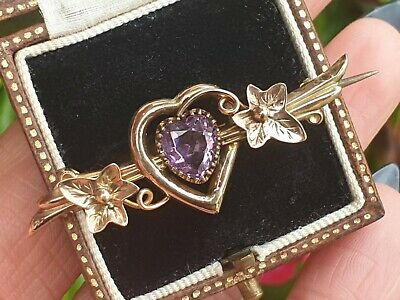 Victorian Edwardian 9ct Gold Amethyst Heart Brooch Pin Jewellery