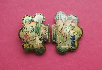 Antique Persian Mother of Pearl Hand Painted Belt Buckle